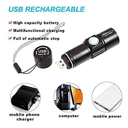 Mini UV Torch USB Rechargeable, BESTSUN LED Black Light Flashlight Ultraviolet Torches Zoomable 395nm Dog Cat Pet Urine Finder Stain Detector Light(Built in Rechargeable Battery) 2