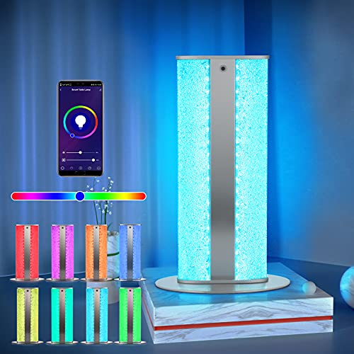 Lámpara de cabecera LED inteligente que cambia de color, lámpara de mesa RGB de 8 W regulable por control remoto y control de aplicación para el dormitorio, la habitación de los niños y la oficina
