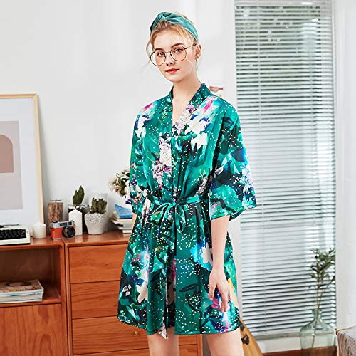 Bata de Mujer Satén Boda Vestido de Novia Albornoz Floral