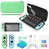 Switch Accessories Bundle - YUANHOT Essential Kit for Nintendo Switch Animal Crossing Edition with Carrying Storage Case, Screen Protector, Joy-Con Protective Cover, Games Holder, Thumb Caps – Green