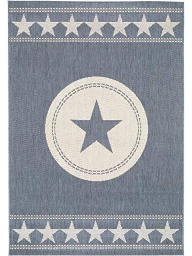benuta In- & Outdoor Teppich Essenza Star Blau 160x230 cm | Pflegeleichter Teppich geeignet für Innen- und Außenbreich, Balkon und Terrasse