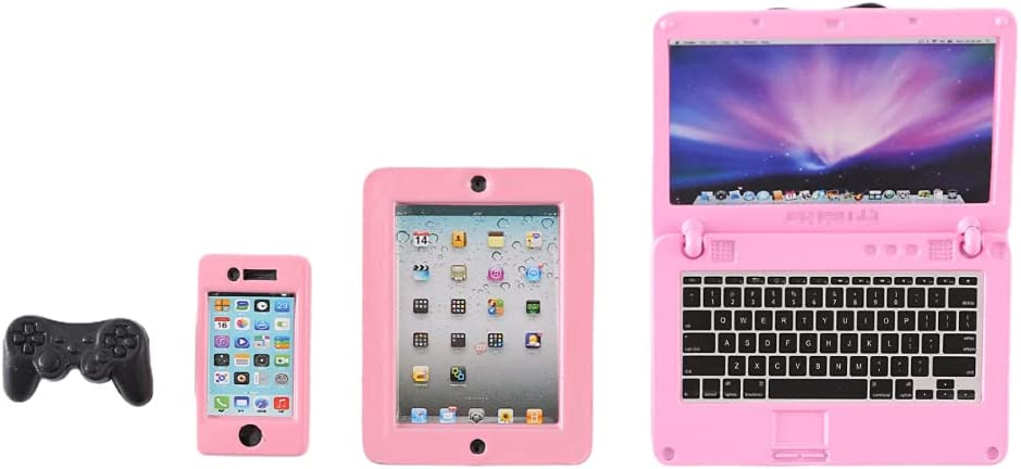 LZQINXUN 4 Pack Dollhouse Accessories,Toy Laptop,Barbie Phone,Mini Tablet and Gamepad,Scene Simulation for Doll 1/6 1/12 Scale,Miniature Toys,Barbie Accessories (Pink)