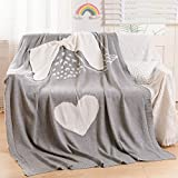 NEWCOSPLAY Animal Knitted Throw Blanket Embroidered Super Soft Cute Blanket for Bed Couch (Angel, 50'x60')