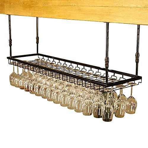 Rastrelliere per bicchieri da vino Cremagliera in vetro per vino appeso nero, cremagliera in ferro regolabile in ferro grande capacità, vetro rustico tazza di vino per cuffie per cucinare il ristorant
