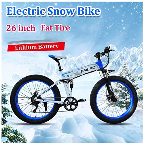 RDJM Bici electrica, Bicicleta de montaña eléctrica for la Mujer Hombre 350W 7 Velocidad City Adulto conmutan Bicicletas eléctricas 36V 10Ah extraíble Batttery 264,0 Fat Tire con Pantalla LCD