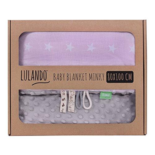 LULANDO Copertina da neonato Coperta per bambino 100% cotone (80x100 cm). Super morbido e soffice, materiale antiallergico, traspirante, Oeko-Tex Standard 100. Colore: Grey - White Stars / Pink