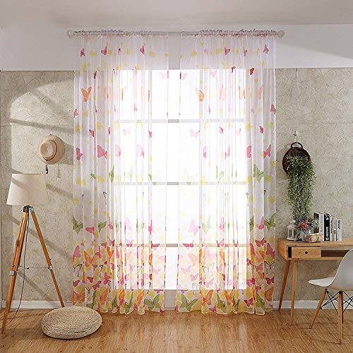GLAUCUS Butterfly Window Panels Drapes Rod Pocket Butterfly Curtains Sheer Voile Offset Print Tulle Home Room for Bedroom Living Room Balcony Coffee House (2pcs/2.7m)
