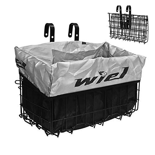 Wiel Fahrradkorb mit Liner Regenschutzhülle, faltbarer Fahrradkörbe aus Stahl Einfache Montage am vorderen Lenker oder am hinteren Gepäckträger für das Einkaufspicknick im Pendler-Lebensmittelgeschäft