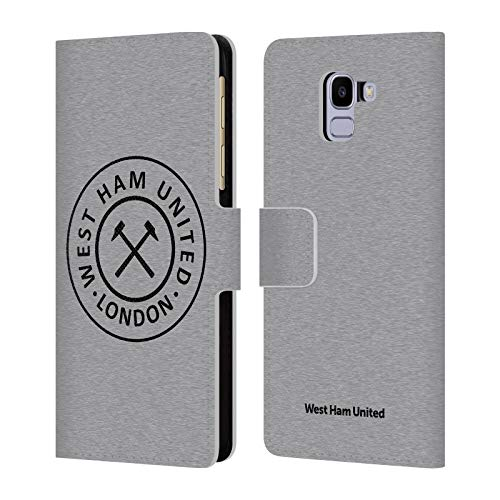 Official West Ham United FC London 2018/19 Crest Leather Book Wallet Case Cover Compatible For Samsung Galaxy J6 / On6 (2018)