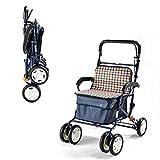 GAOXIAOMEI Carro DELE Compra,Carrito de Compras Plegable 6 Ruedas,con Asiento, Adecuado para Personas Mayores y discapacitadas