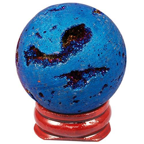 Nupuyai - Esfera de cristal de ágata con revestimiento de titanio, de cuarzo y piedras preciosas, con soporte de madera, azul, 4 x 4 cm