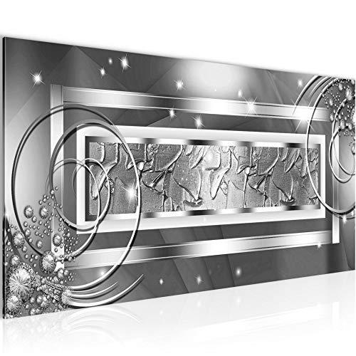 Wandbilder Abstrakt Modern Vlies Leinwand Wohnzimmer Flur Diamant Grau Silber 108012b