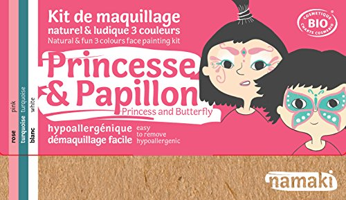 Namaki- Maquillage enfants bio, Kit 3 Couleurs Princesse & Papillon - Rose, Turquoise, Blanc