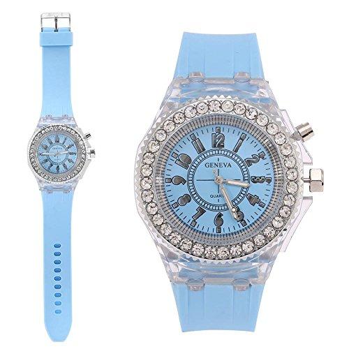 Dilwe Reloj para Niños Reloj de Pulsera con Correa de Silicona y Reloj de Cuarzo Redondo de 4 Colores LED para Mujer Regalos Navidad Tres Reyes(Azul Claro)