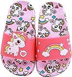 HausFine Chanclas para Niñas Zapatos de Ducha, Playa y Piscina Sandalias de Baño Antideslizantes Sandalias de Unicornio (Rosa, 34)