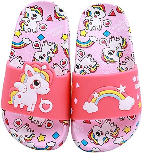 HausFine Chanclas para Niñas Zapatos de Ducha, Playa y Piscina Sandalias de Baño Antideslizantes Sandalias de Unicornio