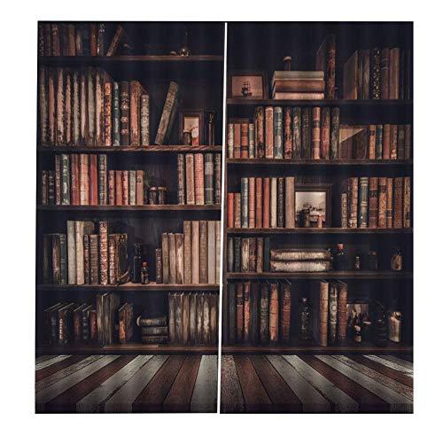 【 】2 tamaños, estantería 3D Cortinas de Cortinas de Sombra Impresas(170 * 200cm), Cortinas de sala de estar Biblioteca 3D Cortinas de sombreado impresas Cortinas de dormitori