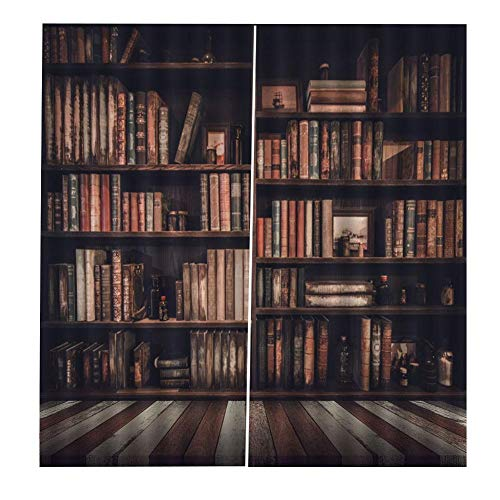 Jadeshay Vorhänge Wohnzimmer Vorhänge 3D Bücherregal gedruckt Schattierung Vorhänge Schlafzimmer Vorhänge 2 Größen(170 * 200cm)