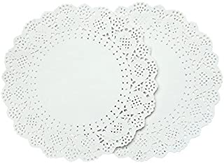 Crystallove 200pcs White Round Disposable Lace Paper Doilies Cake Placemats Crafting Coaster of Tableware Decoration (10.5