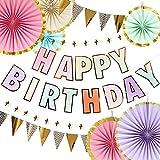 iwlorys 誕生日 飾り付け セット 男の子 女の子 バースデー パーティー デコレーション セット ハッピーバースデー ガーランド Happy Birthday バナー ペーパーファン 100日お祝い 飾り 部屋 撮影 ベビーシャワー 写真背景 (マカロン)