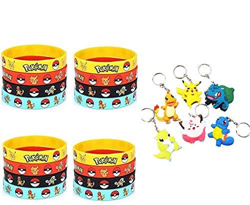 Funnyshow 22 pièces Pokémon Bracelets Pikachu en Silicone, Porte-clés Pokémon pour Enfants et Adultes Party Celebration
