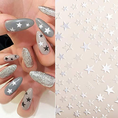 WZHLI 1 Hoja Pegatina de uñas Rosa Oro Plata Estrella Estrella Pegatinas de uñas Bricolaje Etiqueta de Transferencia Etiqueta de uñas Decoración Nail Art Manicur (Color : 02)