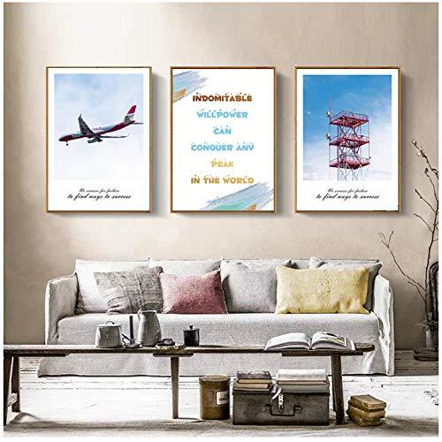 Landschapsschilderkunst woondecoratie nordic canvas schilderij woonkamer muur kunst landschap vliegtuig toren alfabet foto decoratie 40x60cmx3 (randloze)