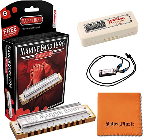 Hohner Marine Band Harmonica Key of C with Hard Case, Mini Harmonica Necklace and Juliet Music Polishing Cloth (C Bundle)