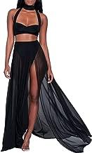 TOB Women's Sexy Summer Halter Slit 2 Piece Maxi Chiffon Dress Skirt Set