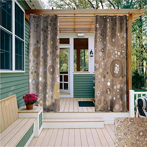 Tan Thermal Insulated Outdoor Curtain Soft Colored Circles and Dots in Different Sizes Bubble Shapes Artistry Outdoor Drape for Pergola/Porch, Tan Light Brown Lilac W108 x L96 Inch
