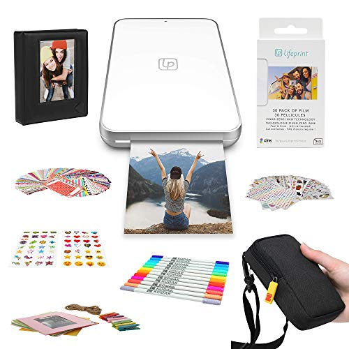 Lifeprint 2x3 Ultra Slim Printer Portable Photo and Video Printer for iPhone and Android (White) Gift Bundle