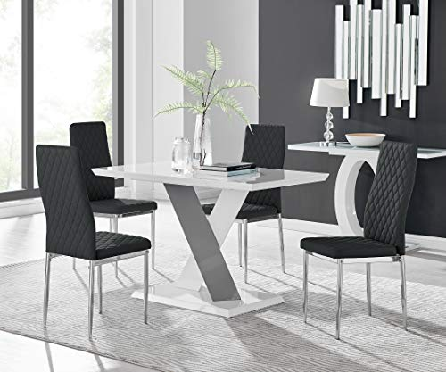 Furniturebox UK Monza 4 Seat White and Grey High Gloss Rectangular Dining Table Modern Contemporary Table Design with 4 Black Milan Faux Leather Modern Dining Chairs