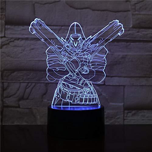 Juego Overwatch 3D Lámpara de mesa Mesa Dormitorio Lámpara de mesa decorativa Sensor táctil USB 7 Cambio de color LED Decoración de luz nocturna Maison 2445