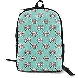 (34 Scale) Mom Heart Tattoo - Pink On Teal C19BS Adult Premium Travel Backpack, Water-Resistant College School Bookbag, Sport Daypack, Outdoor Rucksack, Laptop Bag for Men&Women