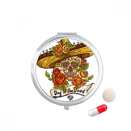 DIYthinker Sombrero Suger Skull Mexico Dag van de Dode Reizen Pocket Pill case Medicine Drug Storage Box Dispenser Mirror Gift