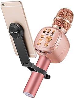 Beschoi Micrófono Inalámbrico Karaoke Bluetooth con Altavoz Incorporado y LED Luz de Color y Soporte para KTV Karaoke Cantar Compatible con Android/iOS PC 3.5mm AUX TF Card Memoria USB - Rose Gold
