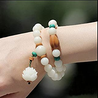 New Lotus Bodhi root bracelets prayer beads hanging white jade bracelet birthday gift unisex double eleven deals
