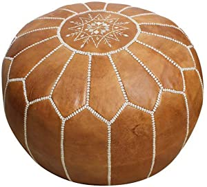 "Handmade Morocco Moroccan Leather Pouf Ottoman, 20"" Diameter 13"" Height (Tan Brown White Stitches) …"