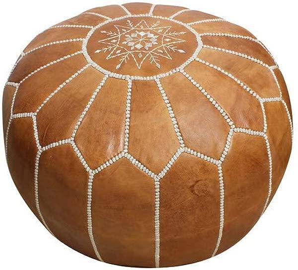Handmade Morocco Moroccan Leather Pouf Ottoman 20 Diameter 13 Height Tan Brown White Stitches