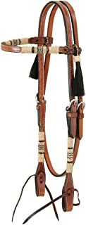Royal King Browband Headstall with Braided Rawhide & Horsehair Tassels