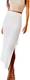 Frieed Women Knit Solid High Waist Stretch High Split Nightclub Maxi Skirt