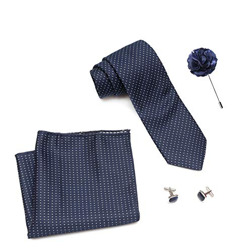 Axlon Men's Polyester Necktie Set with Pocket Square and Lapel Pin (Free Size, Dark Blue)