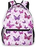 Mochila básica de viaje para portátil de raqueta y squash ball - Mochila escolar de moda, diseño de mariposas, color morado