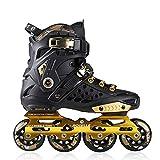 ME-Rollerns Patines Profesionales para niños, Hombres, Mujeres, Zapatos Planos, Patines, Patines para Principiantes, en línea Black Gold 41