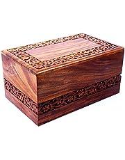 Hind Handicrafts - Caja de madera para cremación con bordes de palisandro hechos a mano y grabado a mano para cenizas humanas, caja de urna funeral