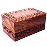 Hind Handicrafts Handmade & Handcrafted Rosewood Borders Engraving Wooden Cremation Box/Urns for Human Ashes Adult, Funeral Urn Box (Large : 9' x 5.5' x 4.5' - 180lbs or 72kg, Natural)