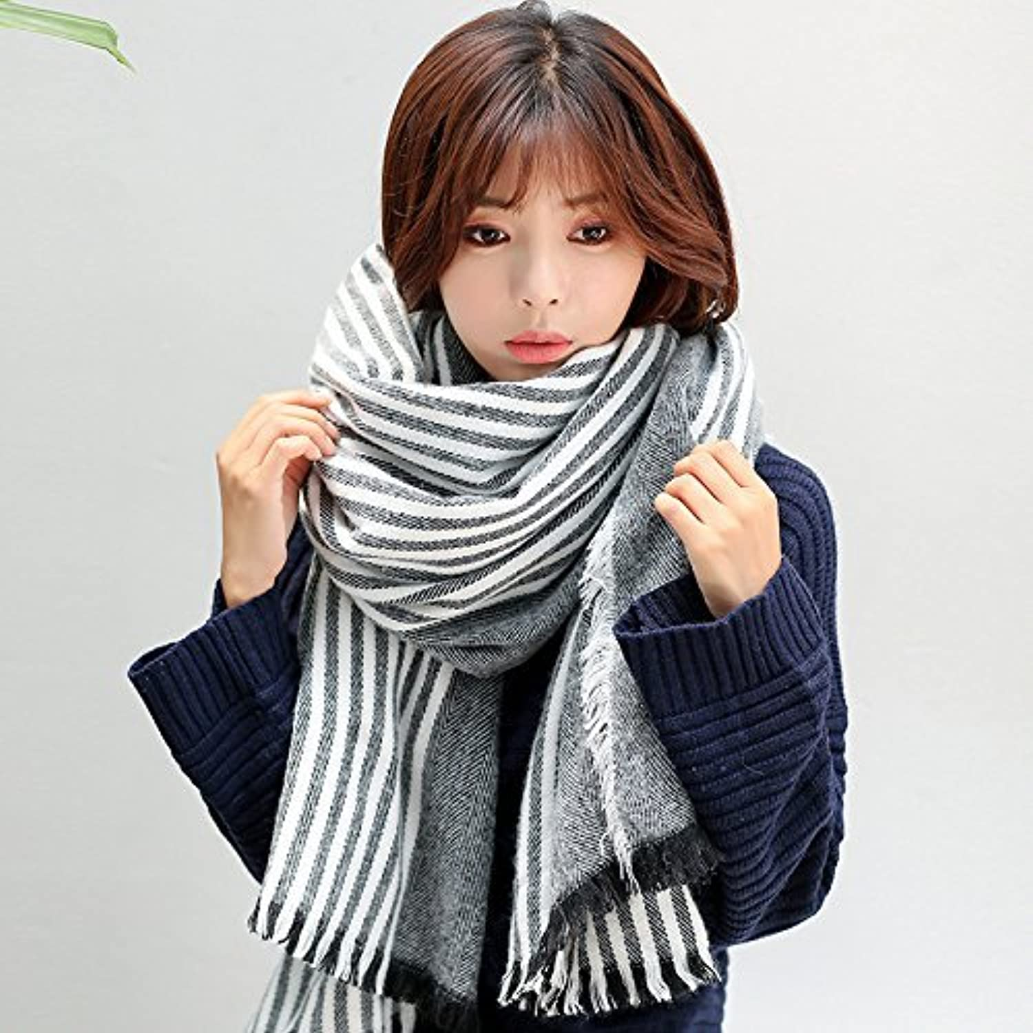SED ScarfFemale Striped Scarf Shawl Scarf Warm in Winter Imitation Cashmere Scarf Female Autumn and Winter Korean Students Knitted Shawl Long