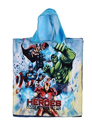 Badetuch Bademantel Kapuzen Poncho für Kinder Baumwolle – wählbar: Super Wings Cars Avengers Mickey Paw Patrol Spiderman Ninja Superman – tolles Geschenk für Jungen (Avengers 01)