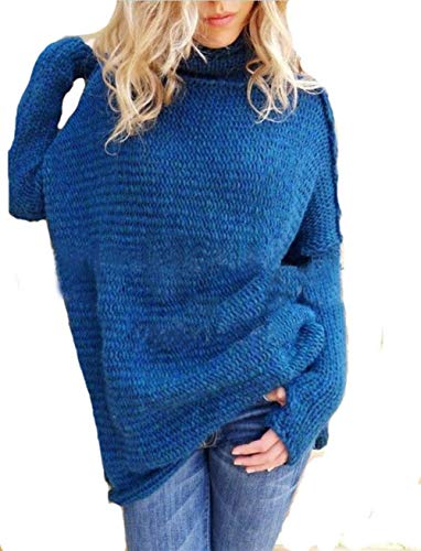 Vrouwen Button Sweater Lange mouwen Knit coltrui grote werven Knitwear Winter Hooded (Color : Blue, Size : S)