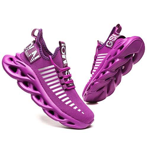 GSLMOLN Herren Laufschuhe Fitness straßenlaufschuhe Sneaker Sportschuhe atmungsaktiv Gym Schuhe lila 43